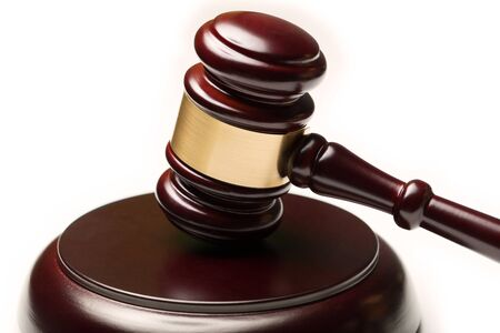wooden law gavel Stockfoto - 128343787