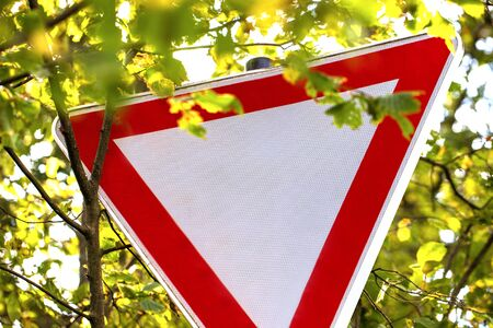 pay attention to the right of way sign germany Stockfoto