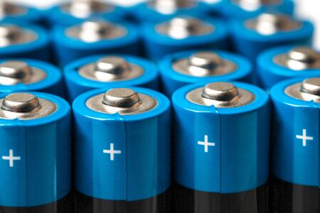 modern plain batteries and accumulators Stockfoto