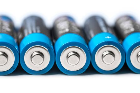 modern plain batteries and accumulators in a row Stockfoto