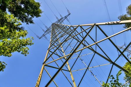 electricity pylon in the summer