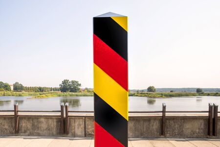 german border German landmark with flag colors Imagens