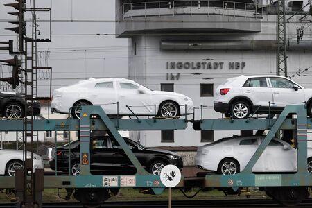 ingolstadt, bavaria/germany - 20 11 19: new audi cars on a car train near ingolstadt germany