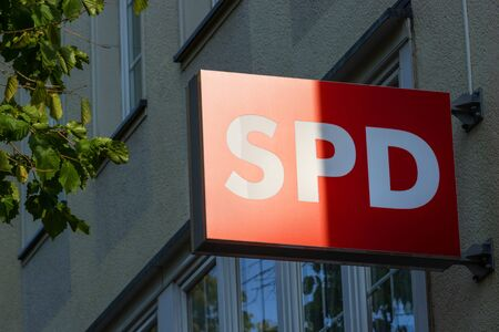 hagen, North Rhine-Westphaliagermany - 21 07 19: spd german party sign in hagen germany 報道画像