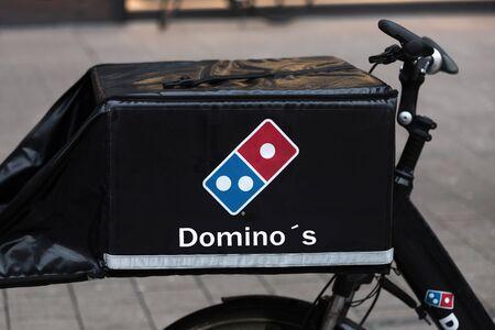 hamburg, hamburg/germany - 05 01 2020: dominos pizza bike in hamburg germany Editorial