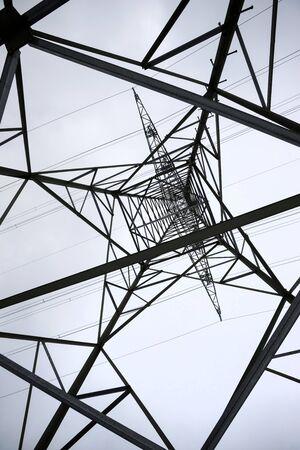 an electricity pylon from below perpendicular Stok Fotoğraf