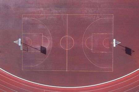a plain basketball court from above