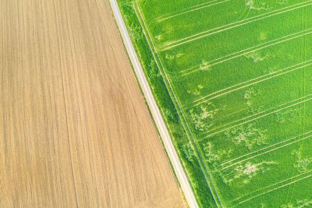 an agricultural landscape from above