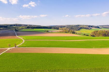 an agricultural landscape in the spring