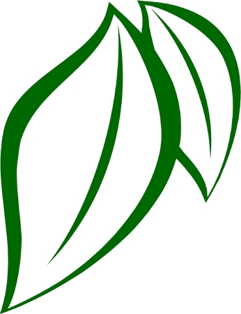 Two stylized green leaves