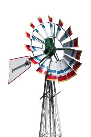 Isolate windmill image with background dropped out. Stock Photo