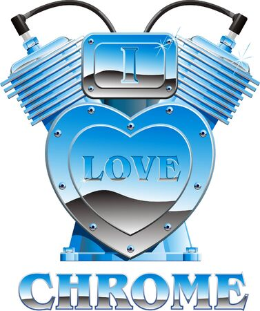 A heart-shaped chrome engine with the words