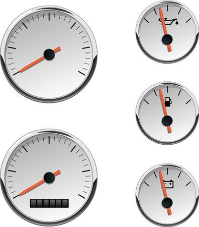 Chrome-auto- of bootmeters. Analoge snelheidsmeter, brandstof, batterij en temperatuur. Nummers zijn niet inbegrepen. Gemaakt in CMYK-kleurruimte. Stock Illustratie