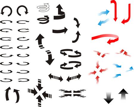 Various directional arrows.