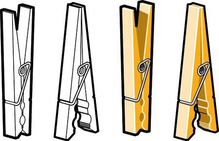 Clothes Pins Illustration