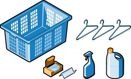 laundry hanger: Servicio de lavander�a Sala de art�culos Vectores