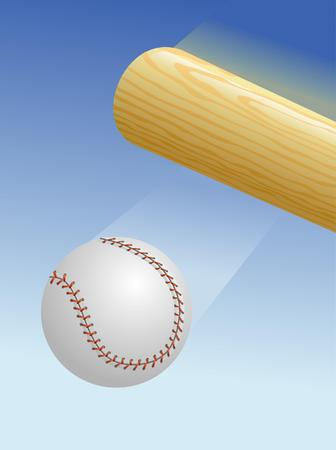 A wooden baseball bat hitting a baseball. Ilustrace