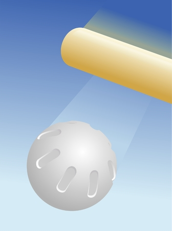 Whiffle ball being hit by a bat. Illustration