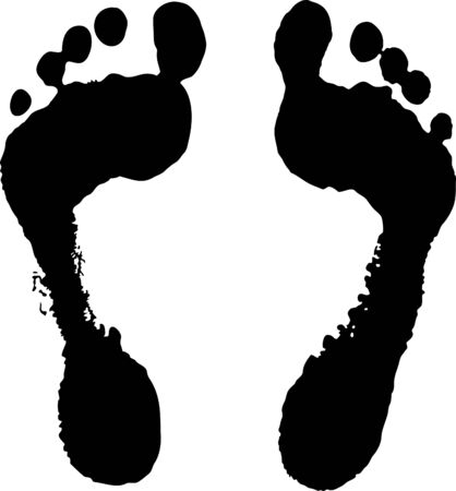 Foot prints silhouette