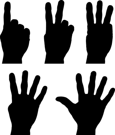 Hands one to five Çizim