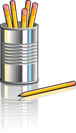 Illustration of a tin can being used as a pencil holder.