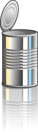 Illustration of a tin can with top partially removed.