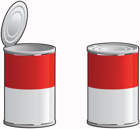 tin cans: Generieke soep blikjes met en zonder deksel verwijderd. Stock Illustratie