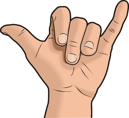Illustration of a Shaka hand sign Stock Illustratie