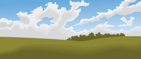 フィールドと空の雲で満たされた、印象派的スタイルのパノラマ風景。