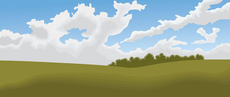 An impressionistic-style panoramic landscape of a field and cloud-filled sky.