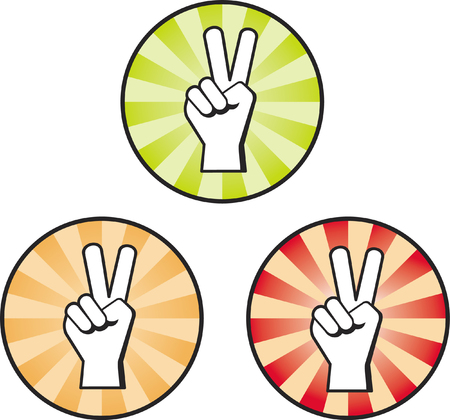 three colored: Peace hand sign on three different colored backgrounds
