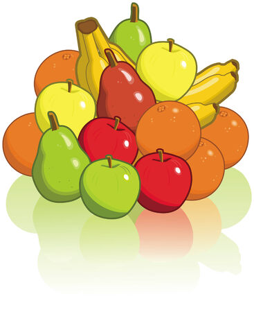 Pile of fruit including pairs, apples, oranges, and bananas.