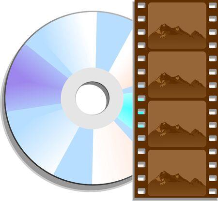 DVD의 영화를 나타내는 디지털 비디오 디스크 (DVD) 및 필름 네거티브.