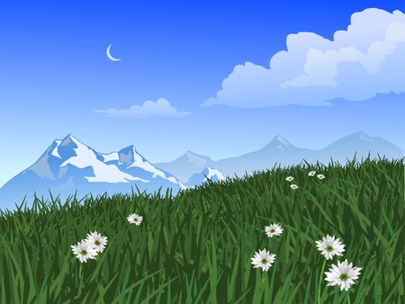 Scenic view of a field with flowers, mountains, clouds and crescent moon.