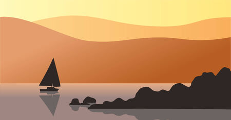 Orange sky at sunset. A silhouette of rocks and distant sailboat can be seen in the water.
