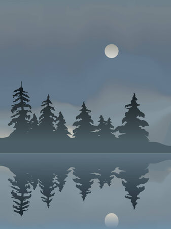 Through a thick fog the Moon rise over a stand of pine trees. This file contains an Adobe Illustrator Gradient Mesh. Vector