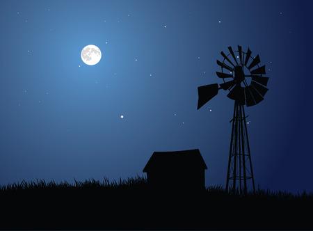 De weergave van een landbouw bedrijf silhouetted door de volle maan. Stock Illustratie