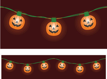 A string of pumpkin-shaped party lights