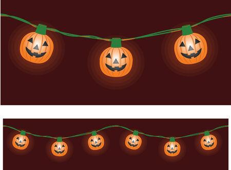 Une chaîne de lumières du parti en forme de citrouille Banque d'images - 3593895