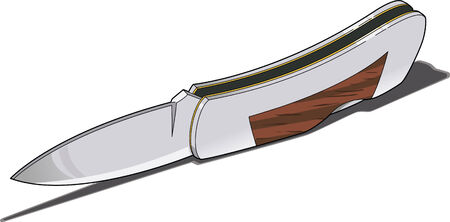 An open lock blade knife  Çizim