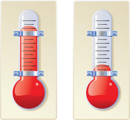 chrome base: Due lampadina rossa sulla base di termometri, uno caldo e uno freddo.