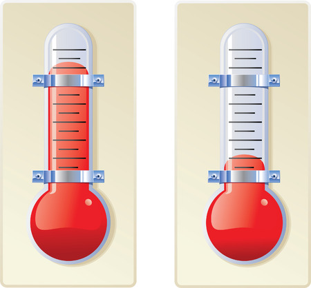 Two red bulb thermometers on base, one hot and one cold.
