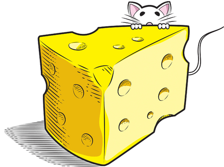 A slice of Swiss Cheese with white mouse