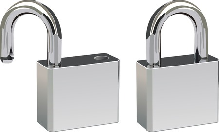 Two padlocks in open and closed positions.