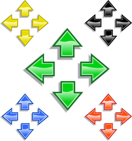 Four directional arrows with reflective highlights and drop shadow. Five colors or provided in RGB color.