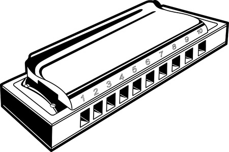 Harmonica in black and white lines Illustration