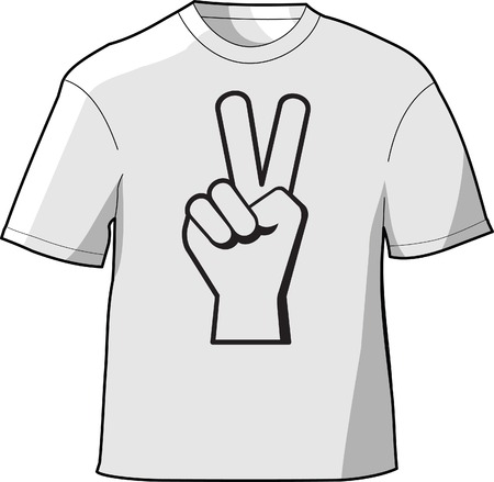 T-shirt with a hand showing a peace sign printed on the front