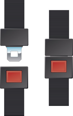 Seat Belt Buckle in buckled (closed) and unbuckled (open) positions. Illustration