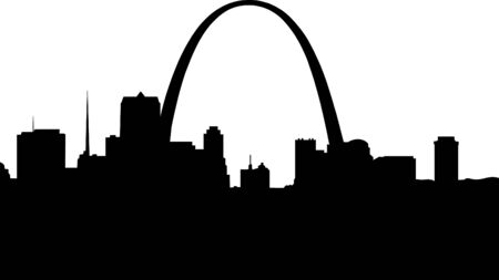 arch: Silhouette of downtown Saint Louis.  Illustration