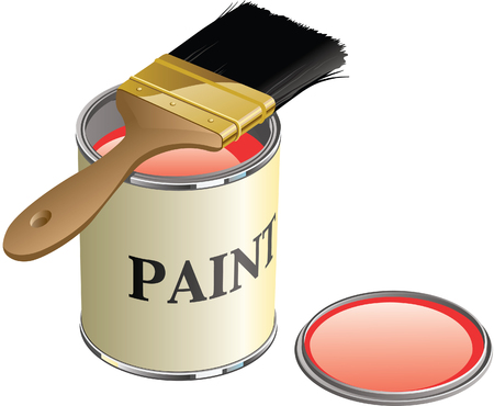 Layer-separated illustration of an open paint can with brush sitting on top.